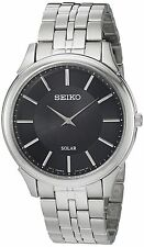 Seiko Men's Solar Classic Silver Stainless Steel Black Dial Watch SUP865
