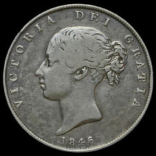 1846 Queen Victoria Young Head Silver Half Crown, Scarce, GF+