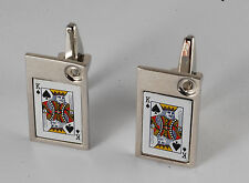 NEW DESIGNER SILVER PLATED BRASS LUCKY KING OF SPADES  MEN'S CUFF LINKS NWOT