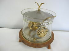 VINTAGE EAGLE KITCHENWARE SOUP TUREEN WARMER WOOD GLASS LADLE BRASS