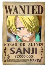 POSTER ONE PIECE TAGLIA WANTED GRANDE BIG SANJI CIURMA COSPLAY MUGIWARA #18