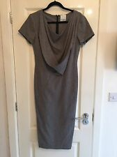 Gorgeous Women's ERDEM Grey Wool Drape Front Shift Dress UK 12 Worn Twice