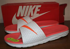 NIKE BENASSI SOLARSOFT SLIP ON SANDALS SALMON ORANGE WHITE WOMENS SIZE  9M