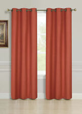 "2 PANELS SOLID RUST ORANGE THERMAL LINED BLACKOUT GROMMET WINDOW CURTAIN 63"" #55"