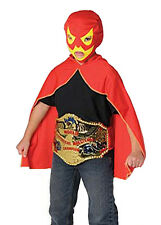 Childrens Luchador Mexican Lucha Libre Red and Yellow Wrestling Mask and Cape