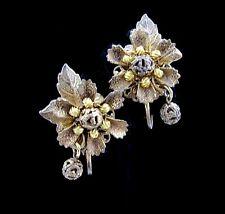STANLEY HAGLER N.Y.C. Goldtone Filigree Flower EARRINGS Vintage Dangling Beads