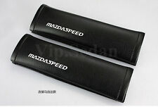 2PCS MS MAZDASPEED GREAT BLACK LEATHER VIP CAR SEATS BELT SHOULDER PADS CUSHIONS