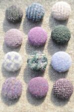 12 x Harris Tweed / wool Covered Buttons Hand Made 24mm Dia 'New Heather'