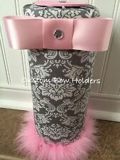 Headband Holder Organizer - Grey Damask With Pink