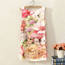 New Women Sleeveless Floral Butterfly Graphic Printed T Shirt Tee Vest Tank Tops