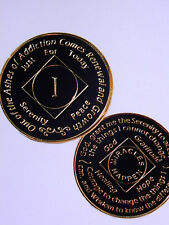 NARCOTICS ANONYMOUS - ENAMELED MEDALLION - BLACK/GOLD - 1 YEAR ANNIVERSARY