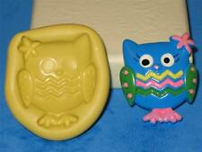 Hoot Hooray Owl 2D Push Mold Food Safe Silicone A160 Cake Topper Candy Fondant