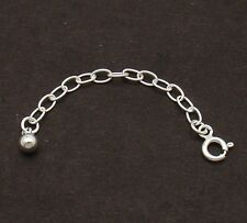"2"" 3mm Solid Oval Extender with Ball Bead 4 Chain Necklace 925 Sterling Silver"