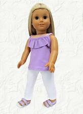 Doll Clothes Lavender Ruffled Tank and Leggings fit 18 inch American Girl
