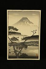 Vtg Japanese Wood Block Art Print Evening Glow at Lake Sai Mt Fuji Black & White