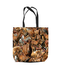 HORSES ALL OVER DESIGN DESIGN TOTE BAG SHOPPING BEACH SCHOOL L&S PRINTS