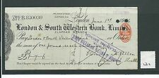 wbc. - CHEQUE - CH232 - USED -1900's - LONDON & SOUTH WESTERN BANK, CLAPHAM