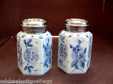 Pair Vintage Blue & White Delft Jars With Ornate Silverplated Covers