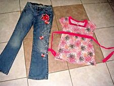 Justice Children's place jeans floral pink blue 10 12 girls clothes outfit set