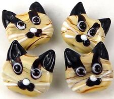 "Lampwork Handmade Glass ""Tiger"" Cat Head Beads 22mm (4)"
