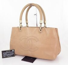 Authentic CHANEL Beige Caviar Leather Tote Hand Bag Purse #23160