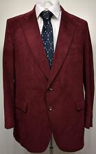 VTG DONCASTER IMPERIAL Mens 46R Burgundy Suede Leather Suit Coat Blazer Jacket