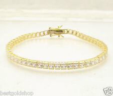 10 TCW Channel Set Princess Cut Tennis Bracelet 14K Gold Clad Sterling Silver