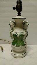 Charming Antique Table Lamp w/ Horse heads Creamy White & Green Design Accents