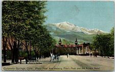 Colorado Springs Postcard Pikes Peak Avenue Horse Carriages Antlers Hotel 1919