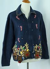 Ugly Christmas Sweater L Reindeer Tacky Holiday Party Cardigan Jumper Large