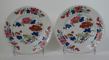 Pair of Chamberlains Worcester enamelled flower plates. c1840