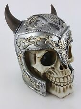 Collectible HORNED HELMET ANCIENT KNIGHT WARRIOR SKULL Handpainted Resin Statue
