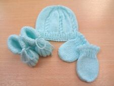 Hand Knitted Home from Hospital Hat Mitt and Bootee set Mint Green Newborn Baby