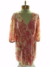 CHA CHA VENTE Women's 3/4 Sleeve V Neck Blouse Top SIZE L Large Pink