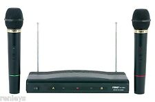 WIRELESS CORDLESS 2 MICS INCLUDED DUAL MIC MICROPHONE SYSTEM AUDIO MUSIC SING