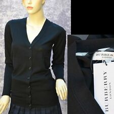BURBERRY LONDON New sz M Check Logo Designer Womens Black Wool Sweater Cardigan
