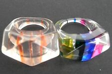 Vintage Lucite Chunky Ring Retro/Geometric/Mod/Abstract Hippie Rings