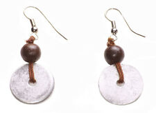 Minimalistic Chrome Button/brown Wooden Beads Easy Hook on Earrings(Zx175)