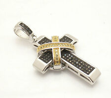 """2 3/8"""" Bold Black Yellow CZ Bling Cross Pendant Real Solid 925 Sterling Silver"""