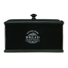 Vintage Home Ceramic Bread Box Black Edition Bread Loaf Storage New