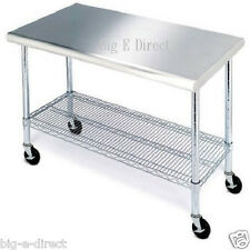 Rolling Kitchen Table Cart Stainless Steel Cutting Top Workbench Wire Shelving