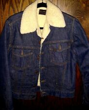 Vintage Mens Sears Roebuck Sherpa Jean Jacket Denim Button Up M Trucker USA Made