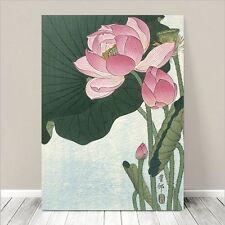"""Famous Vintage Japanese Floral Art ~ CANVAS PRINT 8x10"""" Lotus Flower - Koson"""