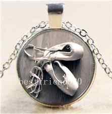 Ballet Dancer Shoes Cabochon Glass Tibet Silver Chain Pendant Necklace