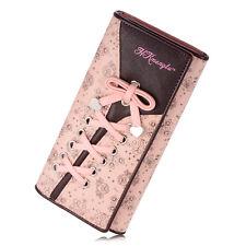 Moda Donna Lungo Pelle Con Lovely A Fascia Sostegno Auto Portafoglio Rosa