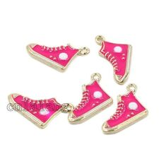 10/50pcs HOT! Plated Gold Enamel Colorful Shoes Alloy Pendant Jewelry Findings-C