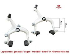 """Coppia Freni a Ganascia """"Logan"""" in Alluminio Bianco per Bici 26-28 Corsa Vintage"""