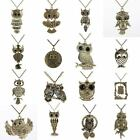 New Women Fashion Vintage Style Bronze Owl Long Chain Necklace Pendant Accessory