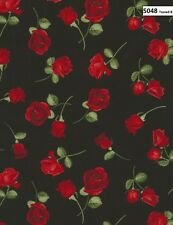 Glamour Red Roses Cotton Quilt fabric Timeless Treasures 5048 Tossed Rose Black