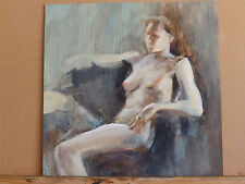 Nude Woman 'LOUNGING' Impressionism Vintage Oil Painting